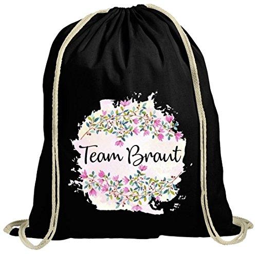 Cotton Gymsac romantisch Blumen dekorativ Gruppen Motiv für Junggesellinnen Team schwarz natur
