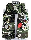 XXL CAMOUFLAGE Tarnschal Sticker Schal mit Patches und Pailletten SUPER QUALITÄT