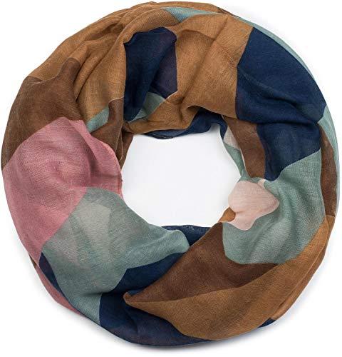 styleBREAKER Damen Loop Schal mit geometrische Dreieck Zacken, Schlauchschal, Tuch 01017091, Farbe:Braun-Blau-Altrose-Mint