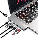 SATECHI Type C Pro Hub-Adapter aus Aluminium mit Thunderbolt 3 (40Gbs), 4K HDMI, Pass-Through-Charging, SD/MicroSD-Kartenleser, 2 USB 3.0 Ports für 2016/2017 MacBook Pro 13-Zoll und 15-Zoll (Silber)