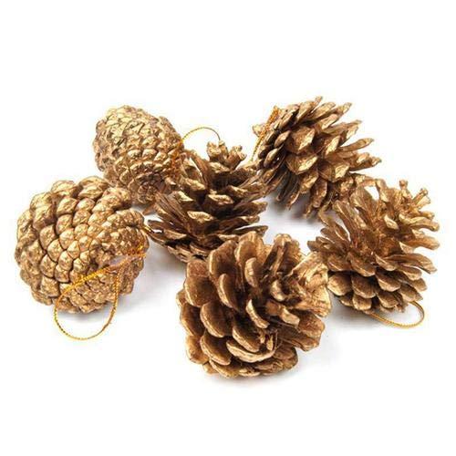 Ideapark Tannenzapfen 4cm Gold Weihnachten Tannenzapfen Anhänger Ornamente Baumschmuck Hängen für Kranz Herbst Handwerk Wohnkultur -