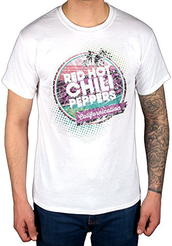 Oficial Red Hot Chili Peppers Californication Camiseta Grupo de Rock Punk  Hippie Blanco Blanco Large 207f061e4c3