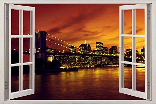 3D-Wandbild Geöffnetes Fenster - großformatig aus hochwertigem Vinyl - wiederverwendbar - Poster Blick aus dem Fenster - Wandtattoo Badezimmer Wandsticker - 3D Fototapete NYC Nacht 85 x 115 cm