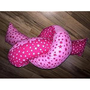 Bettschlange Bettschnecke rosa-pink Bettnestchen Lagerungshilfe Bettrolle Bettwurm Kuschelnest ca. 180cm Sterne Pünktchen