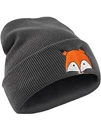 Goosuny Unisex Warm Hut Netter Fuchs Stickerei Muster Strickmütze Hüte Warme Mütze Weiche Kappe Frauen Herren Wintermütze Feinstrick Strickhüte
