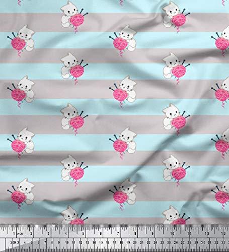 Soimoi Grau Poly Krepp Stoff Kätzchen & Wolle Streifen Stoff Meterware 42 Zoll breit