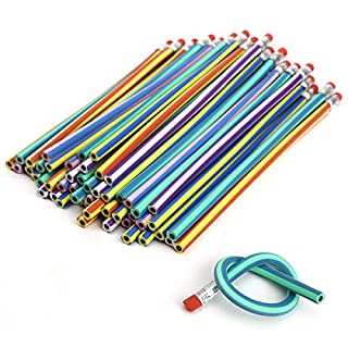 AKORD 50PCS Soft Flexible Bendy Pencils Magic Bend Kids Children School Fun Equipment