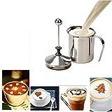 Gearmax® Küche Edelstahl 400ml Doppel Netz Milchaufschäumer Milchschaumer für Latte