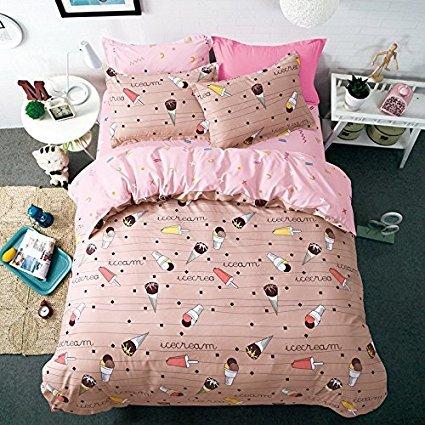 4Cartoon Bettwäsche-Set beinhaltet einen Bettdeckenbezug ohne Tröster einem Bettlaken Zwei pillowcased für Kinder 'Betten, Full Size