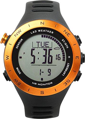 Lad-Weather Puls-Wetter-Monitor Höhenmesser-Barometer-Digitaler Kompass USB-Aufladbare Klettern-Trekking-Fischen-Wandern-Draussen-Uhr (Orange+)