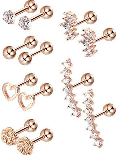 6 Paar Edelstahl Tragus Knorpel Ohrringe Labret Studs Barbell Lippen Nase Körper Stud Piercing für Männer Damen Schmuck (Rose Gold)