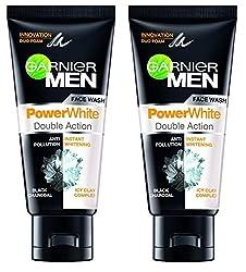 Garnier Men Face Wash Power White Double Action, 100g (Pack of 2)