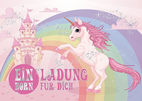 10 Einhorn-Einladungen mit Silberdruck: Geburtstagseinladungen Mädchen Kinder / 10 Einhorn-Party-Einladungskarten zum Mädchen-Kindergeburtstag von Edition Colibri (10952) (Einhorn Mädchen Reitet)