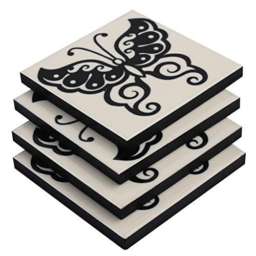 Rabatt Esszimmer-möbel (souvnear Set von 4Getränke Untersetzer–Platz mit Schmetterling Muster–Harz und MDF–schwarz und weiß–Bar/Esstisch Zubehör)