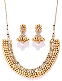 Shayna Jewellery Gold Plated Stone Studded Necklace Set With Earrings
