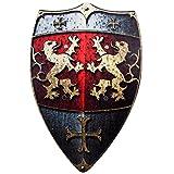BestSaller 1164 Ritterschild Holz, 49x32 cm, mit Löwen Motiv mit Ledergriff, rot/gold (1 Stück)