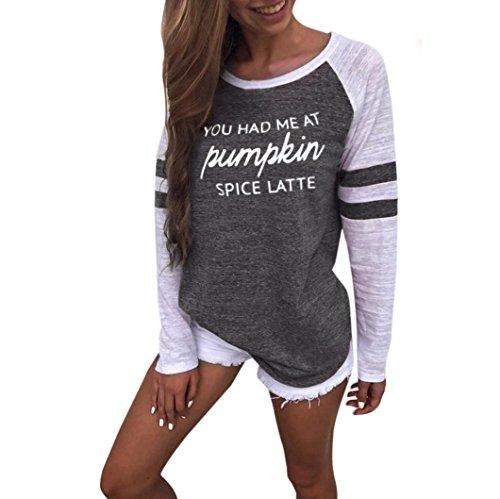 UFACE Damen Frauen Damen Plus Size Langarm Brief Bluse Tops Patchwork T Shirt Large Size Langarm Brief Print Top(Grau,EU/54CN/5XL)