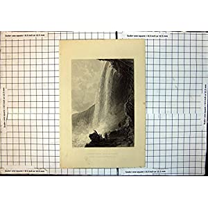 Antike Druck-PferdeSchuh-Fall-Niagara-Eingangs-Höhlen-Englische Seite C 1865