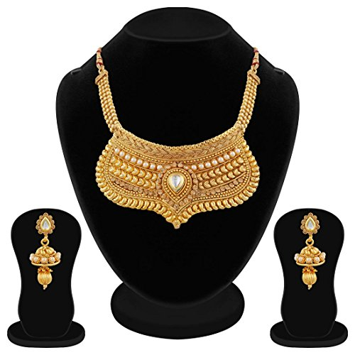 Apara Traditional Golden Pearl LCT Stones and Kundan Half Necklace Set for Women