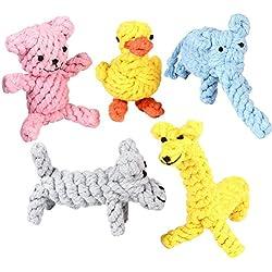 Yier Animales Durable Masticar Cuerda de algodón Juguetes Cachorros Juguetes para perros Juego de regalo para perros pequeños o grandes Dentición Masticar Variedad Paquete de 5