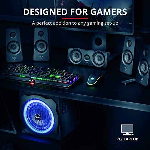 Trust Gaming GXT 658 Tytan 5.1 Surround Lautsprecher Set mit Fernbedienung (180 Watt, LED Beleuchtung) schwarz - 4