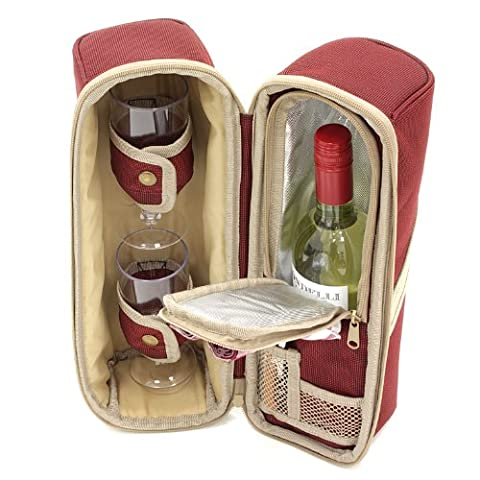 Greenfield Collection Deluxe Mulberry Red Wine Cooler Bag for Two People