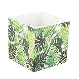 Bunte Grün und Weiß Botanical Palm Leaf Print Quadratisch Flower Pot–Hochwertiger Keramik Übertopf mit Modernes Blattdesign, perfekt für Aufbewahrung von in-Pflanzen auf der Fensterbank, Regal oder Kaminsims–Bezaubernde Geschenkidee für Hochzeit, Jahrestag oder Einzugs.