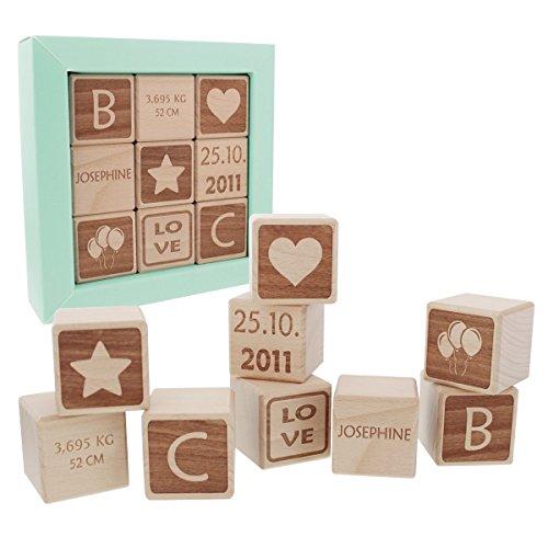 Baby-Holzwürfel mit Namensgravur - Schönes Geschenk zur Taufe, Geburt, als Weihnachtsgeschenk...
