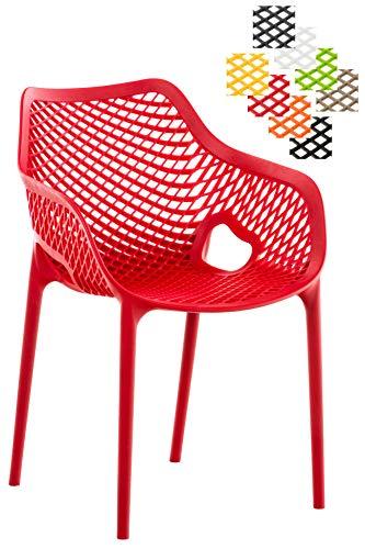 CLP XL-Bistrostuhl AIR aus Kunststoff I Stapelstuhl AIR mit Einer Sitzhöhe von 44 cm I Outdoor-Stuhl mit Wabenmuster I erhältlich Rot