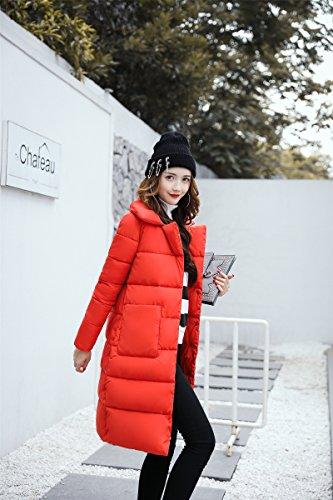 Santimon Da Donna Media Lunghezza Piumino Packable Peso Leggero Cappotto Di Cotone Outwear Rosso Arancio