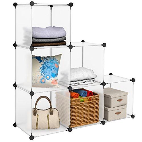 LANGRIA Wohnzimmerschränke Stufenregal 6 Schrank Offen Regalsystem Schuhschrank Kleiderschrank Garderobe mit Transluzenten Platten für Kleidung, Schuhe, Spielzeug und...
