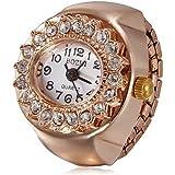 Women's Diamante Round Dial Rose Gold Alloy Quartz Analog Ring Watch