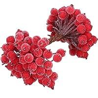 100 Tallos de Alambre de Bayas de Acebo Artificiales Adorno de Flores Artificiales 200 Piezas 12 mm Mini Bayas Frutos Escarchados de Navidad, Rojo