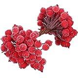 100 Steli Metallici di Artificiale Bacche Rosse Decorazione di Fiori 200 Pezzi 12 mm Mini Natale Satinato Frutta Bacche, Rosso