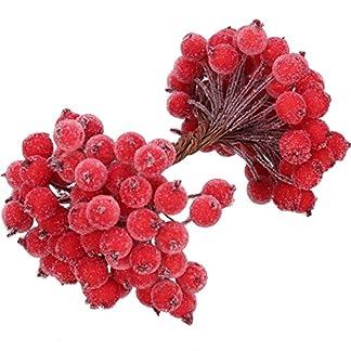 100-Verdrahtete-Vorbauten-knstlichen-Stechpalme-Beeren-knstliche-Blumendekor-200-Set-12-Millimeter-Mini-Weihnachten-mattierte-Fruchtbeere-Rot