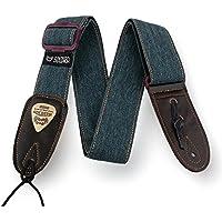 Mugia correa de la guitarra ocio del vaquero triple deslizamiento de ajuste con la correa de la guitarra final de cuero para bajo eléctrico y guitarra eléctrica (Verde)