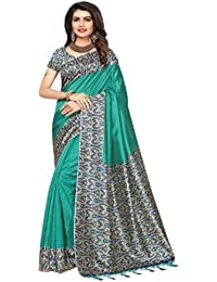Mysore Silk Printed Saree With Unstitched Blouse (Multicolor)