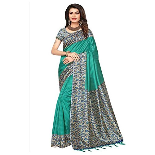 JookarDeal Mysore Silk Printed Silk Saree with Unstitched Blouse (Turquoise)