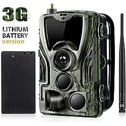 trail camera 3G Caméra de Chasse 16MP 1080P 0.3s Vitesse de Déclenchement avec Vision Nocturne 90ft 3 PIR 940nm LED Infrarouge IP65 Grand Angle 120° Étanche Appareil Photo Chasse avec Batterie Li