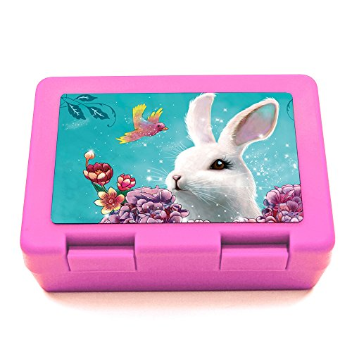 ilka parey wandtattoo-welt® Lunchbox lunch box Brotdose Brotbuechse Haeschen mit Hortensie Vogel und Wunschname LB08 - ausgewählte Farbe: *pink*