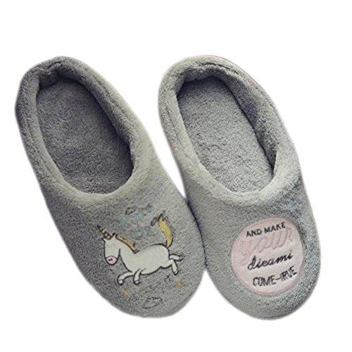 Spaufu Zapatillas de Felpa de Estar por Casa para Mujer Patrón de la Casa del Unicornio Acolchadas de Algodón Cartoon Invierno Cómodas Suave Antideslizante (38-39M)