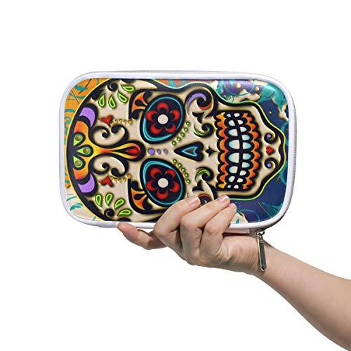 Lustige mexikanische Sugar Skull Gesicht, Stifteetui, Federmäppchen, multifunktionaler Reißverschluss, Reisetasche, Make-up-Pinsel, Kosmetiktasche für Kinder, Studium, Frau, Mann, Arbeit