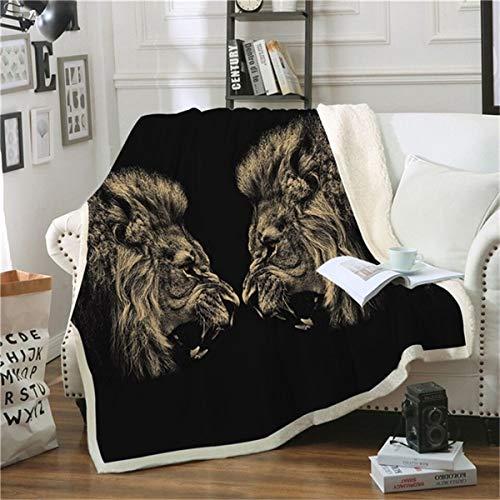 HAOTTP Kuscheldecke Ist Super Weich Schwarz Lion Fashion Plüsch Jugend Quilts Sual Fleece Nach Hause Werfen EIN Büro Waschbar TagesKuscheldecke 100X140Cm -