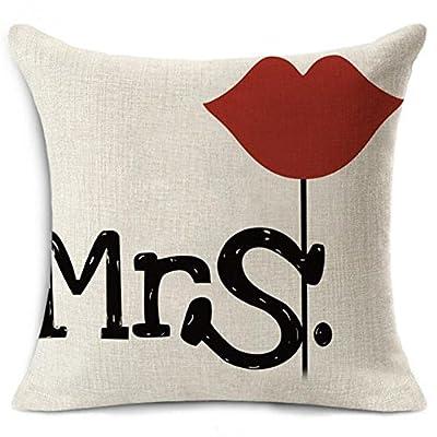1Pc 44*44cm Couple Moustache Lip Pillow Case Cover Back Cushion for Bed Sofa Car