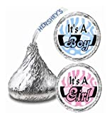 108 It's a Boy or Girl Baby Shower Party Hershey Kisses Stickers Party Favors: Please Choose One Via Message by Maestro