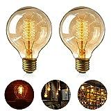 Edison Vintage Glühbirne, 2 Stück Globe Glühlampe Retro Glühbirne Warmweiß E27 40W Nostalgie Glühlampe Dimmbar Spiral Faden Dekorativ Lampe Ideal für Dekorative Beleuchtung im Haus Café Bar usw