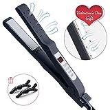 Huachi Fer à lisser Utilisé sur Cheveux Humides ou Secs Lisseur Professionnel Chauffage à Double Usage 2 en 1 Boucler avec LCD Ecran de 80-230°C Noir V169