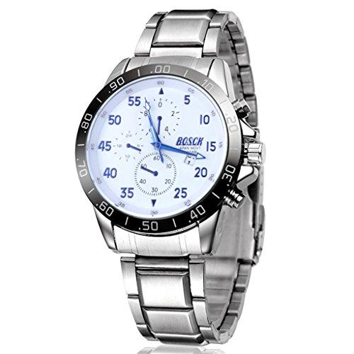 Unendlich U Fashion Casual Sport Herren Armbanduhr Weiß Zifferblatt mit Kalender Blau Zeiger Edelstahl Armband Wasserdicht Analog Quarz Uhr