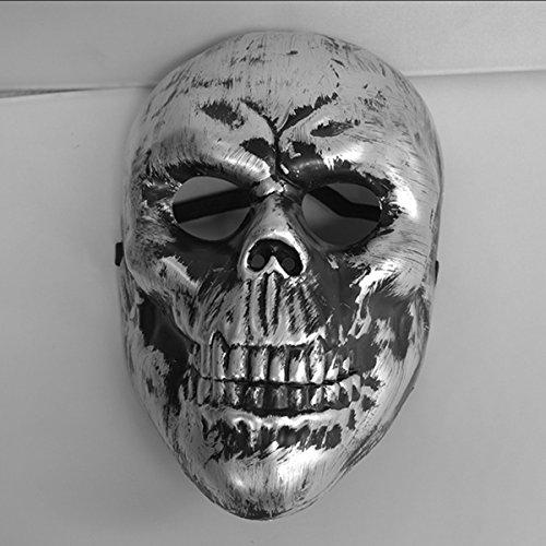 Horror Halloween Party Gekleidet Bar Militärische Fans Cs Feld Schädel-Krieger-Maske,Silver (Schablone Militärische)
