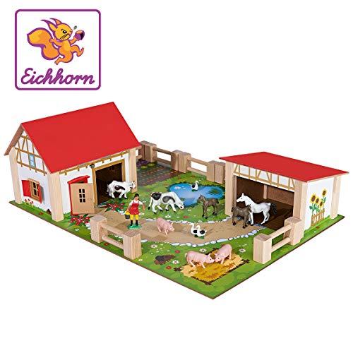 Eichhorn 100004308 - Bauernhof mit 2 Gebäuden, Spielplatte, Figuren, Tieren, Zäunen; 25-tlg, 36x51cm, Buchenholz - Spielzeug-bauernhof-gebäude
